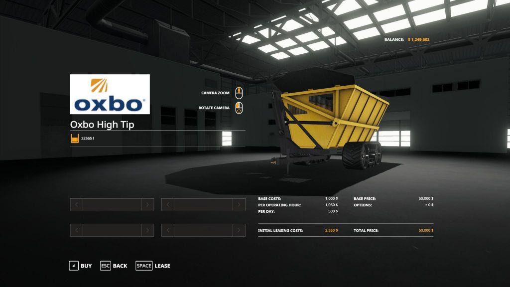 Oxbo Dump Cart for Farming Simulator 2019