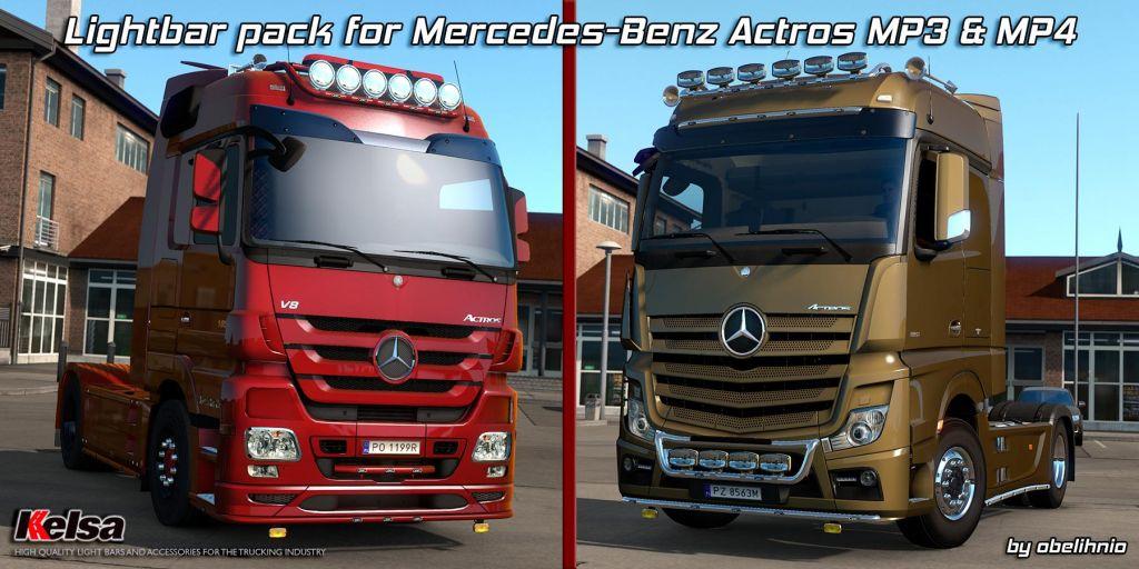 Kelsa lightbars for Mercedes-Benz Actros MP3 & MP4 1.36.x 2