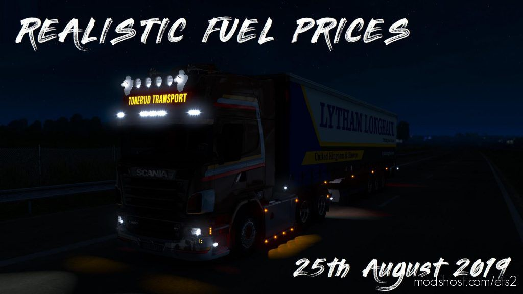 Realistic Fuel Prices – 25Th August 2019 1.35.X for Euro Truck Simulator 2