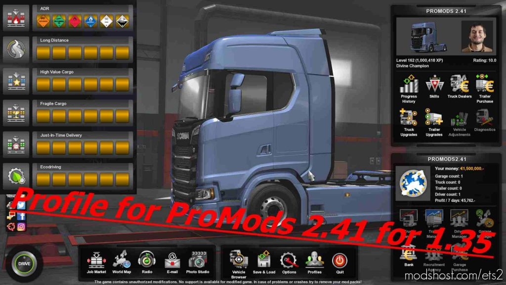 Profile For Promods V2.41 for Euro Truck Simulator 2