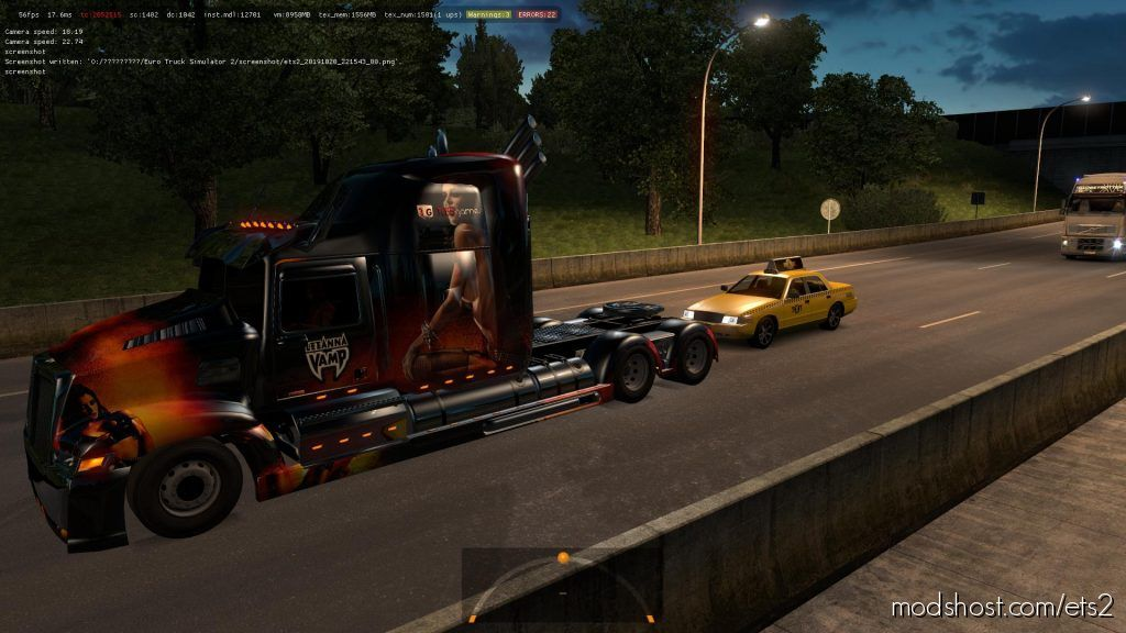 Yellow Taxi With Checkers In Traffic 1.36.X for Euro Truck Simulator 2
