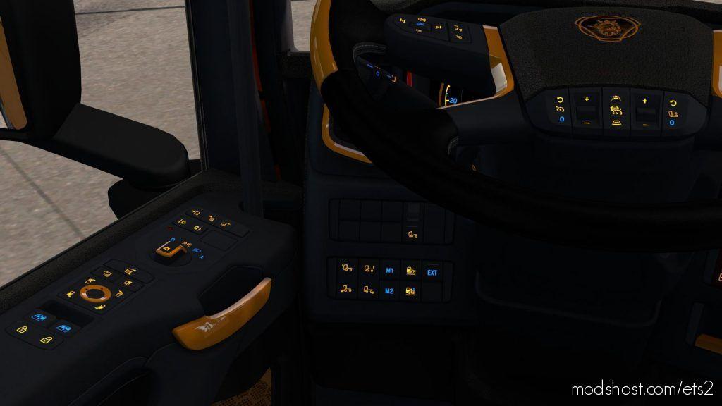 Scania Next Gen R&S Black – Yellow Interior V1.1 1.35 for Euro Truck Simulator 2