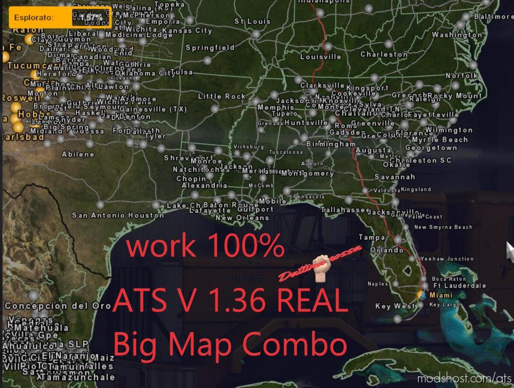 Super BIG Map Comb Work 100% V1.36.0.1 for American Truck Simulator