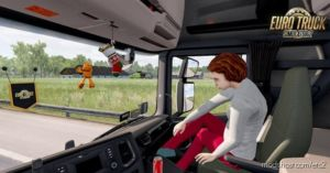 Animated Female Passenger In Truck (With YOU) V2.1 for Euro Truck Simulator 2