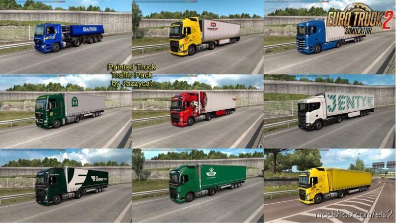 Painted Trucks In Traffic Pack V9.8 (1.36.X) for Euro Truck Simulator 2