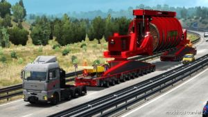 Mega Industrial Cable Reel Transport With Support Trucks [1.36.X] for Euro Truck Simulator 2