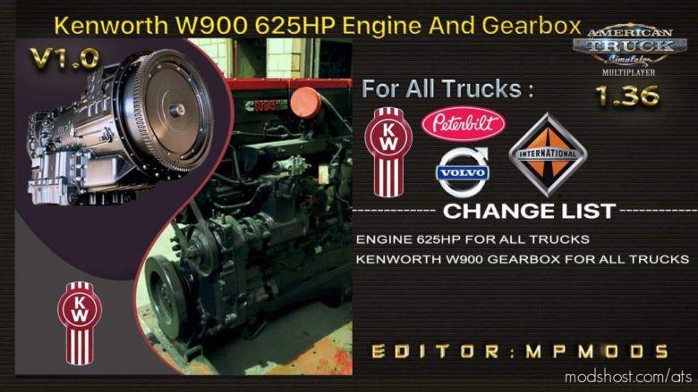 Kenworth W900 625HP, Gearbox For DAF Trucks for American Truck Simulator