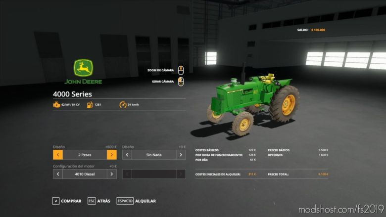 John Deere 4000 Series ESP V1.2 for Farming Simulator 19