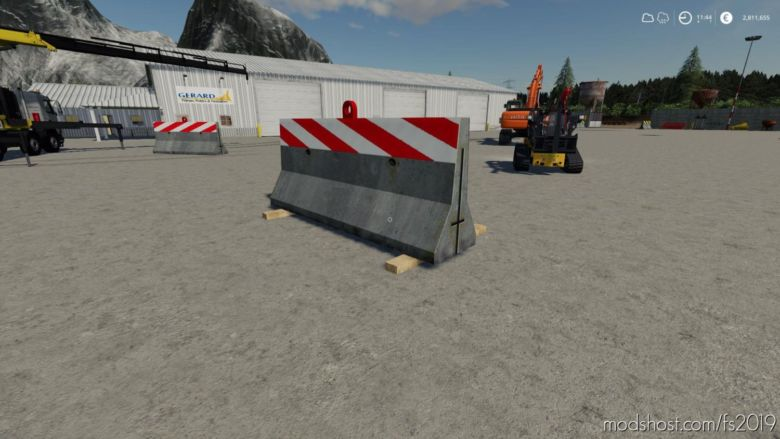 Dynamic Concrete Road Barrier RED for Farming Simulator 19