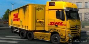 Dirty DHL Skin For Mercedes Actros 2014 Combo Skin Pack for Euro Truck Simulator 2