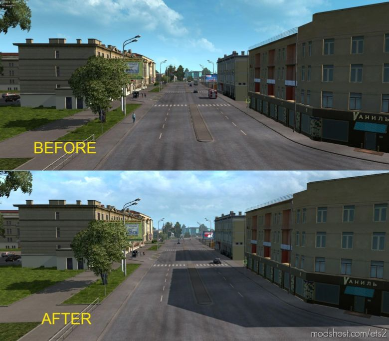 FIX For Rusmap Shadows V2.1 for Euro Truck Simulator 2
