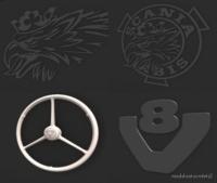 Scania RJL Backwall Logo/ Emblems Pack for Euro Truck Simulator 2