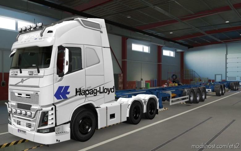 Skin Volvo FH16 2012 Hapag Lloyd Branco [1.37] for Euro Truck Simulator 2