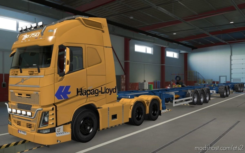 Skin Volvo FH16 2012 Hapag Lloyd Orange [1.37] for Euro Truck Simulator 2
