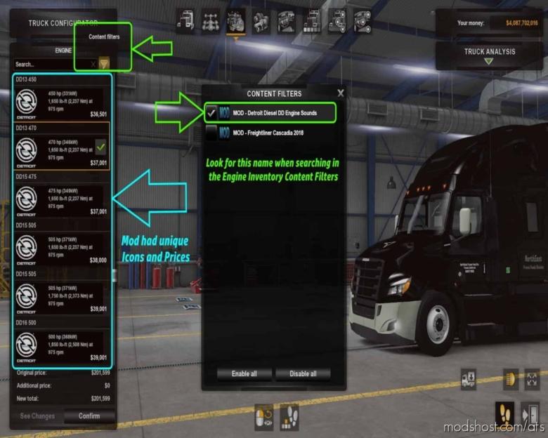 Galimim's Freightliner Cascadia NEW Detroit Diesel Sounds [1.38] for American Truck Simulator