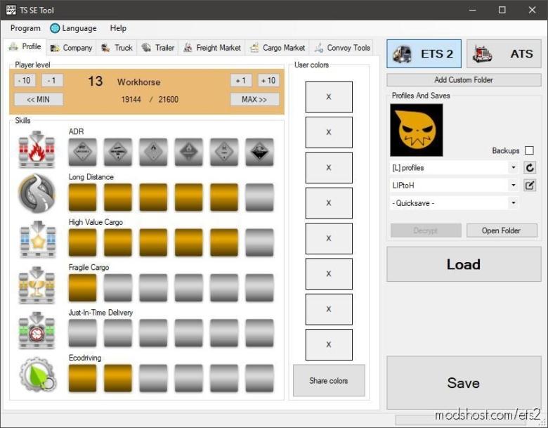 TS SaveEditor Tool V0.2.4.0 for Euro Truck Simulator 2