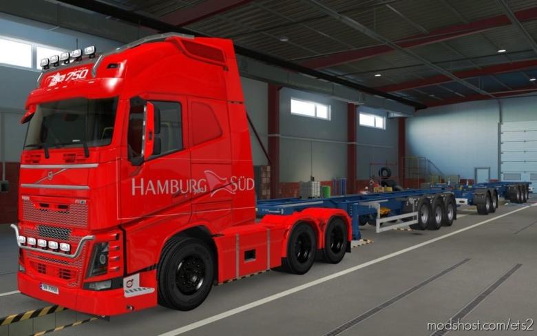 Skin Volvo FH16 2012 Hamburg SUD RED [1.37] for Euro Truck Simulator 2