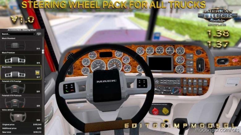 Steering Wheel Pack For ALL Trucks [1.38] for American Truck Simulator