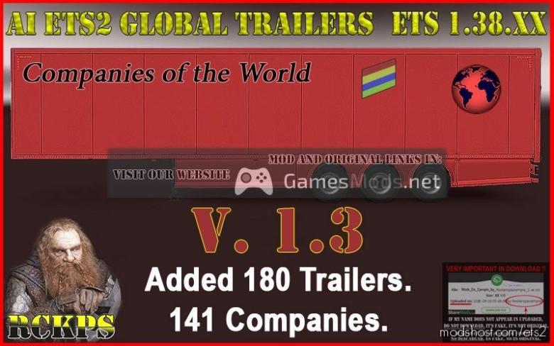AI Global Trailers Rckps V1.3 [1.38.X] for Euro Truck Simulator 2