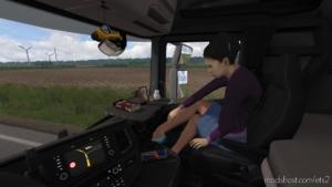 Animated Female Passenger In Truck V2.2 [1.38] for Euro Truck Simulator 2