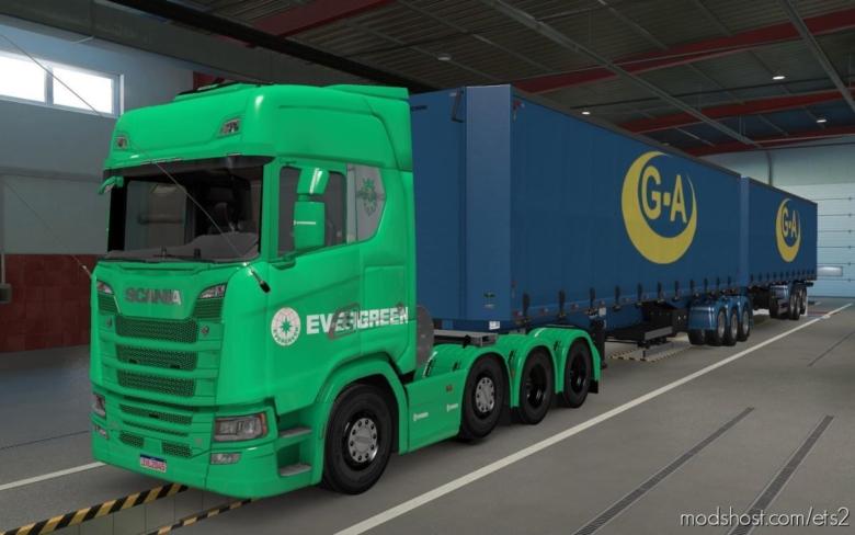 Skin Scania S 2016 8X4 Evergreen Green [1.38] for Euro Truck Simulator 2