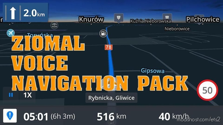 Ziomal Voice Navigation Pack [1.38.1.3S] for Euro Truck Simulator 2