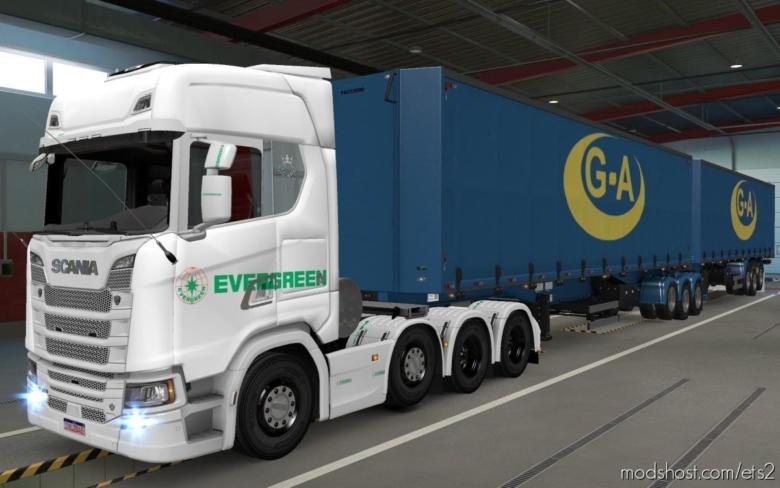 Skin Scania S 2016 8X4 Evergreen White [1.38] for Euro Truck Simulator 2