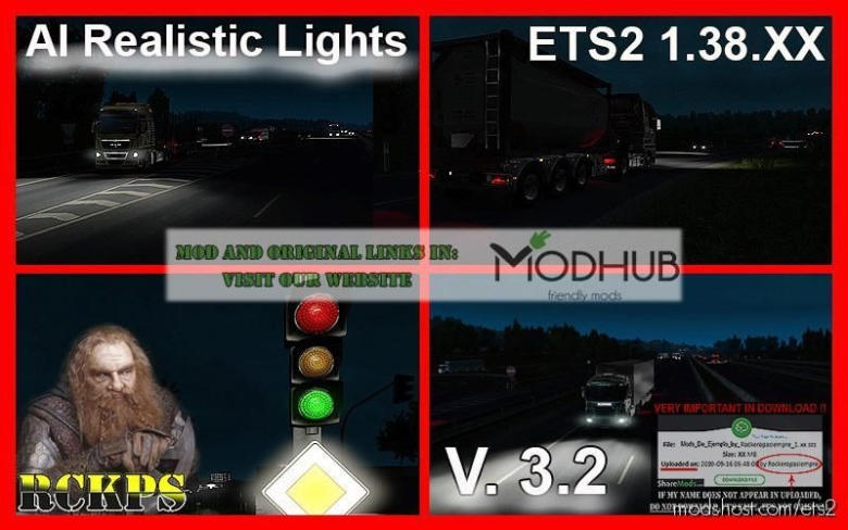 AI Realistic Lights V3.2 For 1.38.X for Euro Truck Simulator 2
