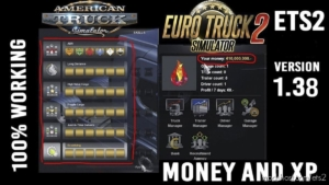 XP And Money Mod [1.38] for Euro Truck Simulator 2