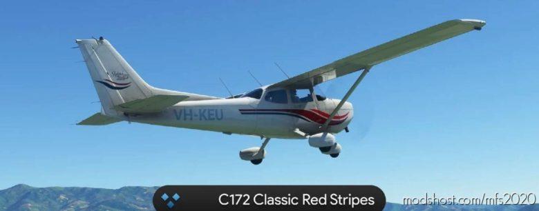 C172 Classic RED Stripes 4K for Microsoft Flight Simulator 2020