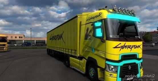Renault T Cyberpunk 2077 Black (1.38) for Euro Truck Simulator 2