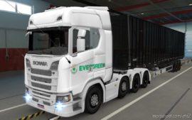 Skin Scania S 2016 8X4 Evergreen White [1.39] for Euro Truck Simulator 2