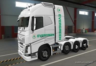 Skin Volvo FH16 2012 8X4 Evergreen White [1.39] for Euro Truck Simulator 2