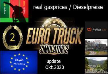 Real Gasprices/Dieselpreise Update OKT 20 V6.1 for Euro Truck Simulator 2