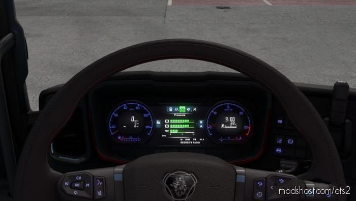 Scania S – Blue Doshboard Light for Euro Truck Simulator 2