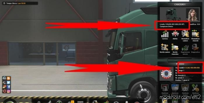 Infinite Money And XP [1.39] for Euro Truck Simulator 2