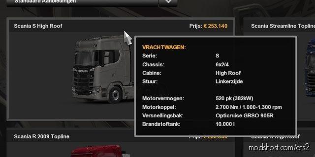 10.000L Fuel Tank Scania for Euro Truck Simulator 2
