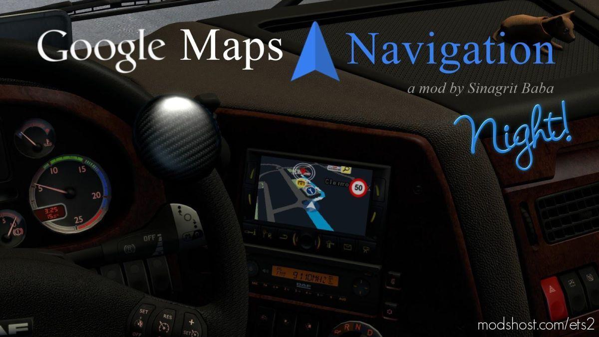 Google Maps Navigation Night Version V2.2 for Euro Truck Simulator 2