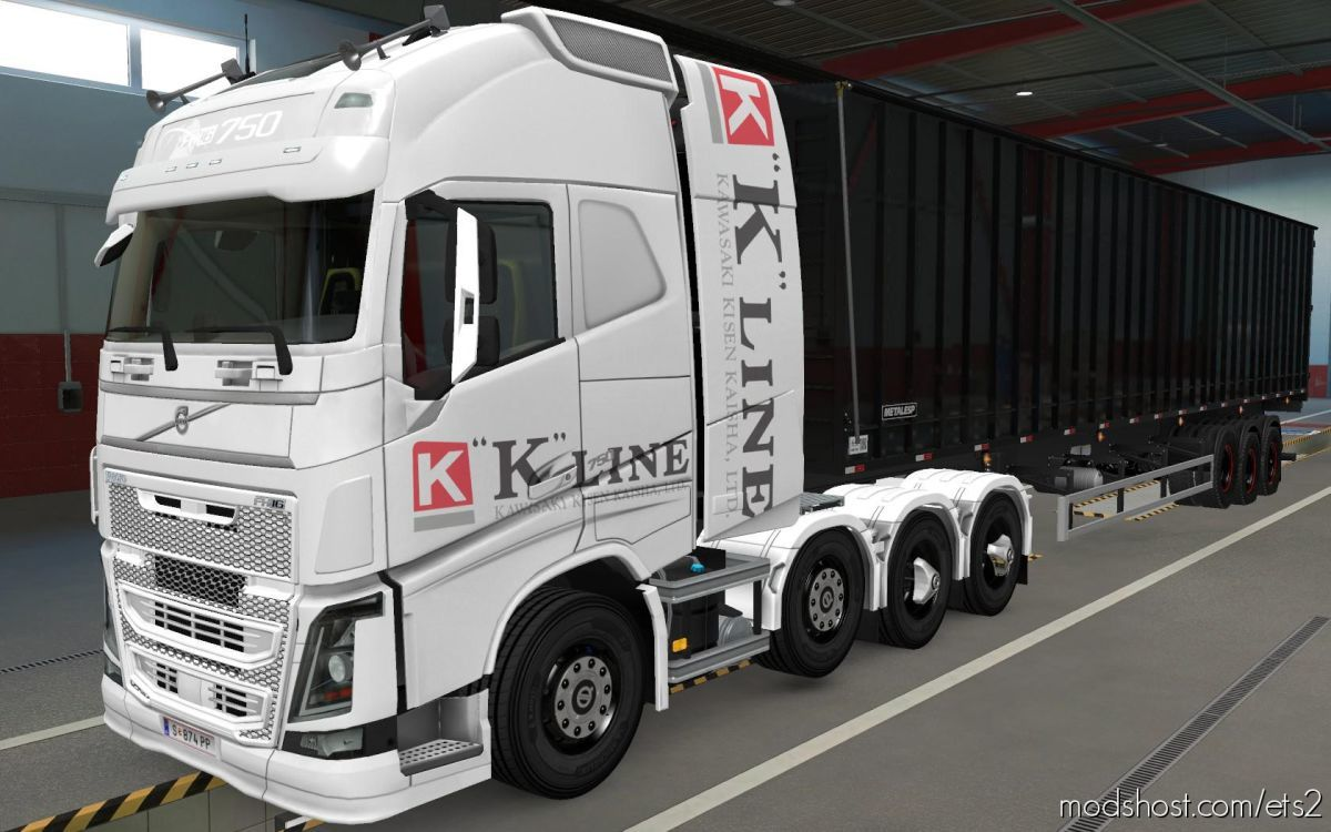 Skin Volvo FH16 2012 8X4 K-Line White [1.39] for Euro Truck Simulator 2