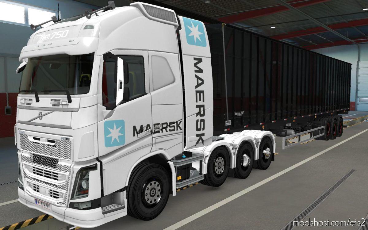 Skin Volvo FH16 2012 8X4 Maersk White [1.39] for Euro Truck Simulator 2