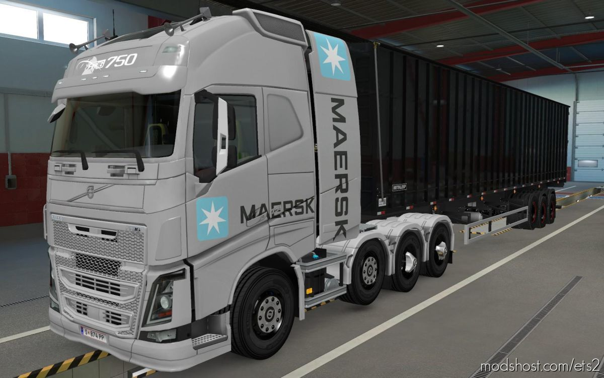 Skin Volvo FH16 2012 8X4 Maersk Grey [1.39] for Euro Truck Simulator 2