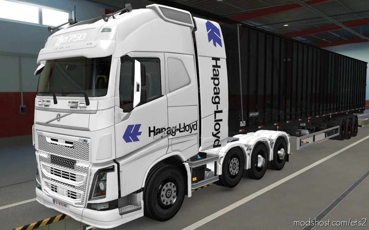 Skin Volvo FH16 2012 8X4 Hapag Lloyd White [1.39] for Euro Truck Simulator 2