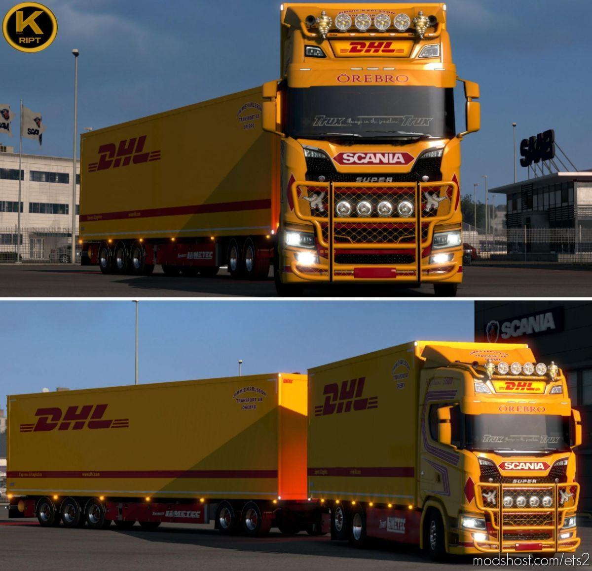 DHL Tandem Scania S580 J. Karlsson for Euro Truck Simulator 2