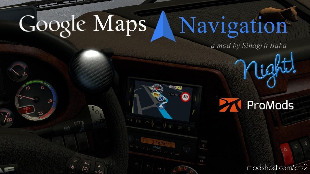 G Maps Navigation Night V2.6 for Euro Truck Simulator 2