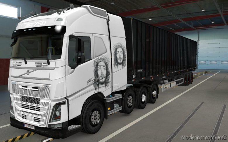 Skin Volvo FH16 2012 8X4 Jesus Cristo [1.39] for Euro Truck Simulator 2