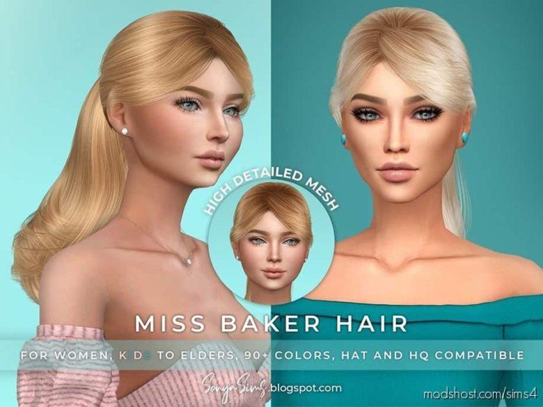 Sonyasims Miss Baker Hair for The Sims 4