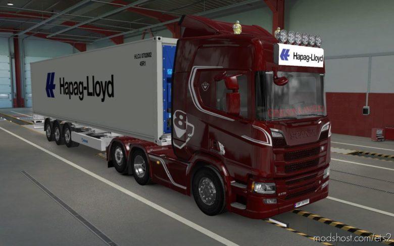 BIG Lightbox Scania R And S 2016 Hapag Lloyd White [1.39] for Euro Truck Simulator 2
