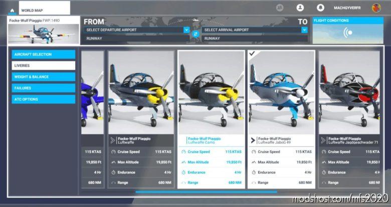 Atsimulations Focke-Wulf Piaggio 149D Metadatas FIX V1.1 for Microsoft Flight Simulator 2020