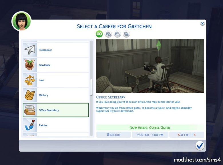 Office Secretary Vintage Career for The Sims 4