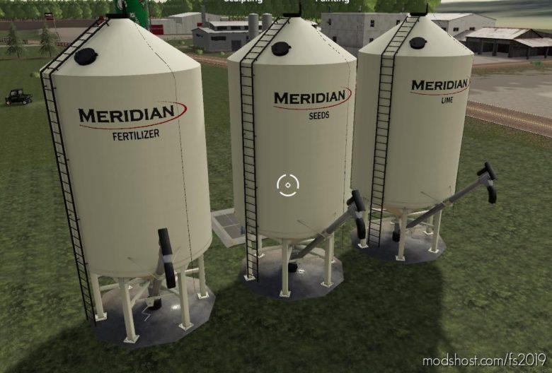 Meridian Seed/Fert/Lime Silos for Farming Simulator 19